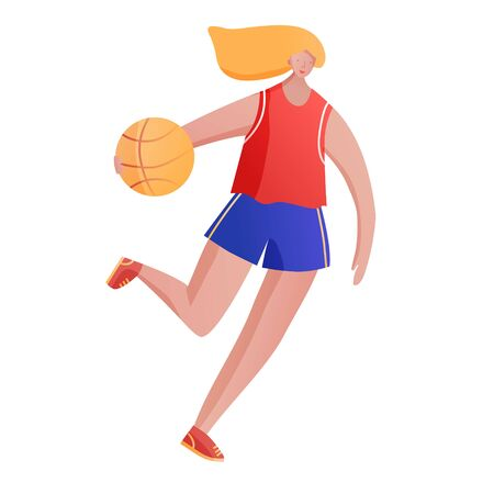 Body positive girl in blue shorts and red t-shirt with red hair playing basketball with orange ball. Vector illustration.