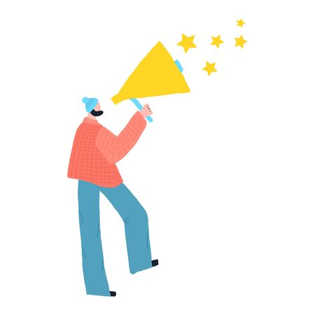 Hipster guy giving feedback for customer experience through megaphone with stars. Illustration concept.