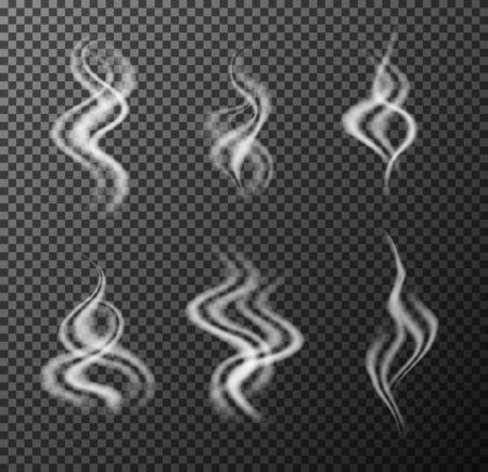 Steam hot beverage smoke. Realistic vector illustration.