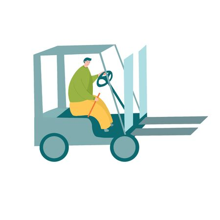 Forklift driver in yellow pants and green shirt operating modern forklift machine Ilustrace