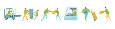 Delivery service characters set with messengers, postman with push cart and couple using shoulder straps. Ilustracja
