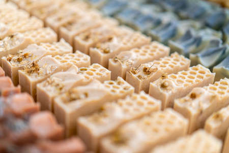 Colorful bars of natural handmade soap