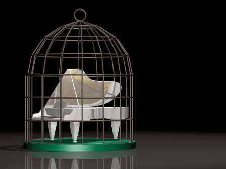 Musical white Grand piano on a birdcage. 3D, illustration.