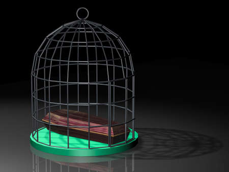 Wooden coffin of death on a bird cage. 3D, for example.
