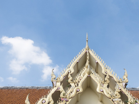 top of the chapel in Wat Prasing zooming for detail of thai art and how beautiful is it, Chiangmai ,Thailand Stock Photo