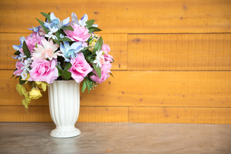 beautiful flowers rose pot on the floor use for background. Stock Photo