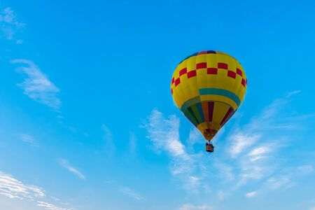 balloon colorful transport people freedom on the blue sky with cloud background Stock Photo