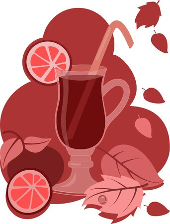 a glass of red drink with falling leaves, citrus fruit around on a red background Illustration