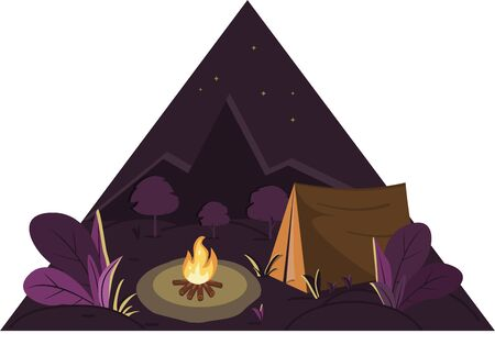 Illustration of a night campfire in the forest near a tent on the background of mountains Ilustrace
