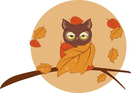 Vector illustration. An owl wrapped in yellow leaves sits on a branch 向量圖像
