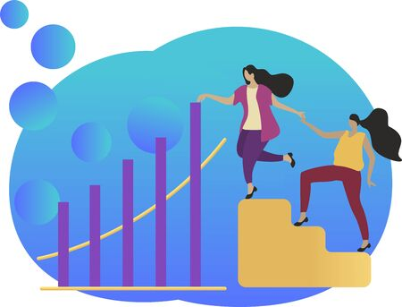 Vector flat illustration. 2 girls run up the yellow ladder, help in development, growth of success rates. Blue background