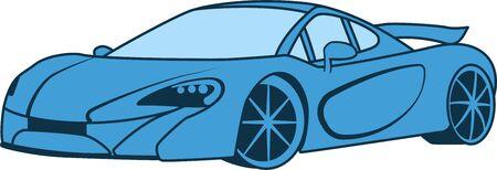 Vector illustration. Sport car blue color for logo or icon
