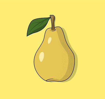 Ripe yellow pear vector illustration for templat, logo or icon. Modern illustration