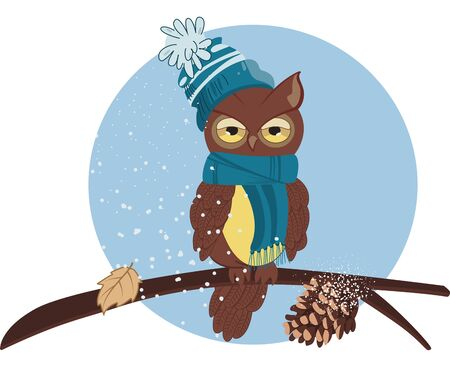 Vector illustration of a cartoon owl in a blue scarf and a blue hat with a pompom. An owl sits on a branch with a cone and a fallen leaf. Snow is falling.