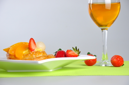 orange and strawberry dessert Stock Photo