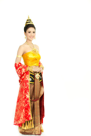 woman wearing typical thai dress with isolated on white background, identity culture of thailand Фото со стока - 33968170