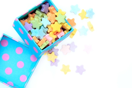 Candy Milk star-shaped colorful in a gift box. Фото со стока
