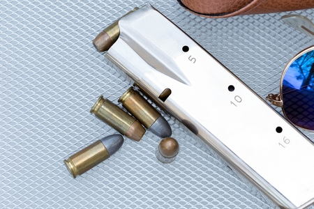 Close up of 9 mm. bullets with 9 mm.