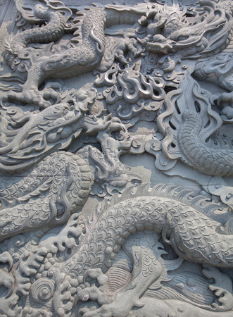 traditionary: Chinese style two dragon statue and cloud