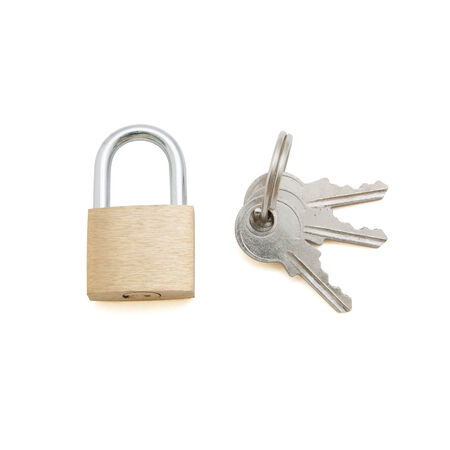 Key lock with a bunch of small keys photo