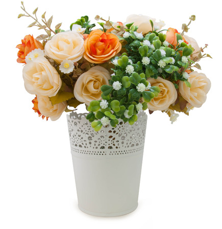 Artificial roses Bouquet on white background photo