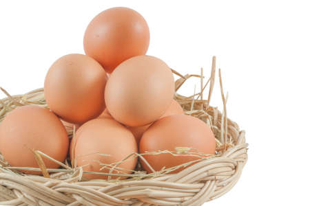 Eggs in basket  isolated on white background,  file includes a excellent clipping path photo