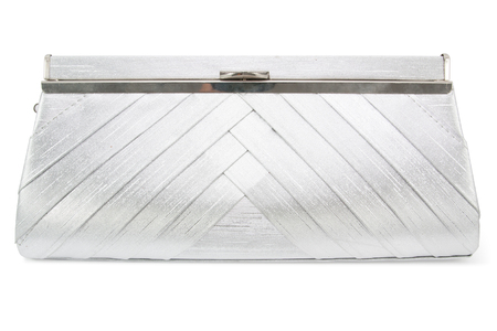 Silver women handbag  isolated on white background 版權商用圖片