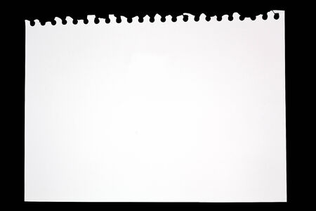 Torn Sheet of Paper From Drawing book on black background,  file includes a excellent clipping path