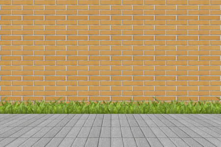 urban architecture: Grass and mortar wall Stock Photo