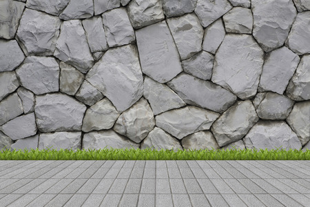 Grass and mortar wall photo