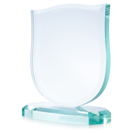 background trophy: Glass award, isolated on white,  file includes a excellent clipping path