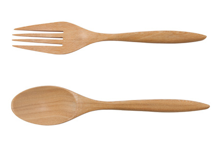 wooden fork and spoon isolated on white, file includes a excellent clipping path 版權商用圖片