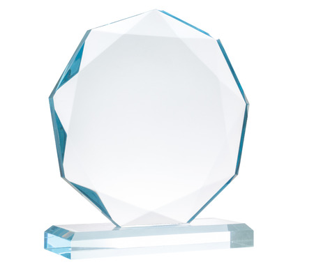 Glass trophy, isolated on white,  file includes a excellent clipping path