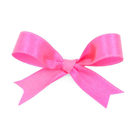 on pink: Pink satin gift bow ribbon, file includes a excellent clipping path