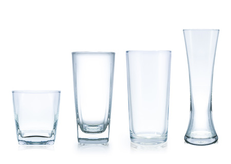 four style empty glass, isolated on white,  file includes a excellent clipping path