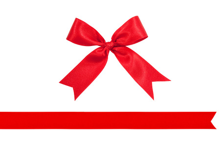 red ribbon bow on white background preparation for gift wrapping