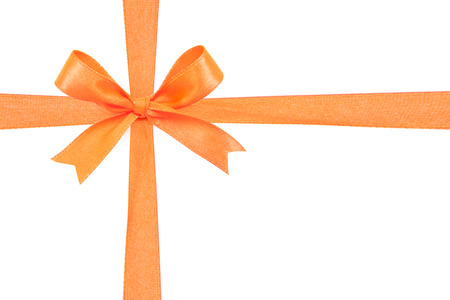 Orange satin gift bow ribbon 版權商用圖片 - 35051137