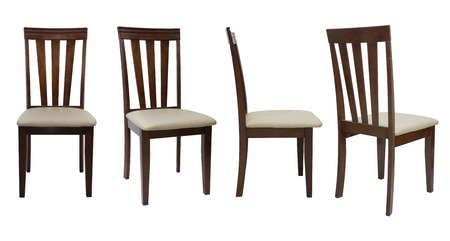 4 angle  wooden chair  isolated on white background,  file includes a excellent clipping path 版權商用圖片