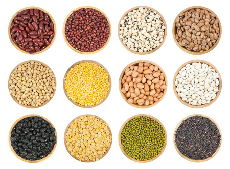 collection of legumes in the cup isolated on white background photo