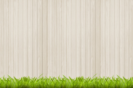 Wood texture and green grass background photo
