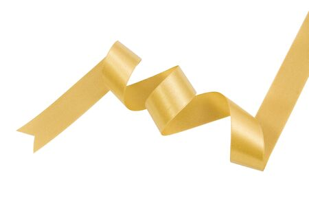 nicely: Gold ribbon nicely uncurled isolated on pure white, file includes a excellent clipping path Stock Photo