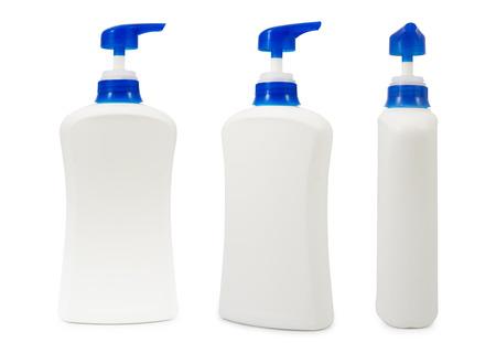 plastic pump bottle  on white background photo