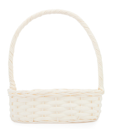 willow fruit basket: empty wicker basket  isolated on white background