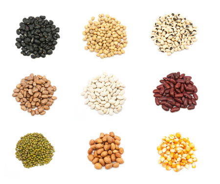 collection of legumes in the cup isolated on white background 版權商用圖片