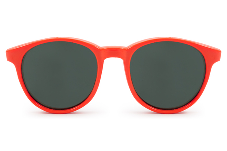 red sunglasses on white background