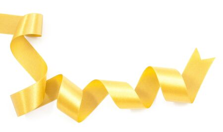 nicely: Gold ribbon nicely uncurled isolated on white