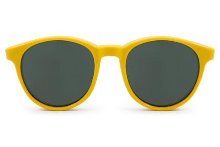wayfarer: yellow sunglasses on white background Stock Photo
