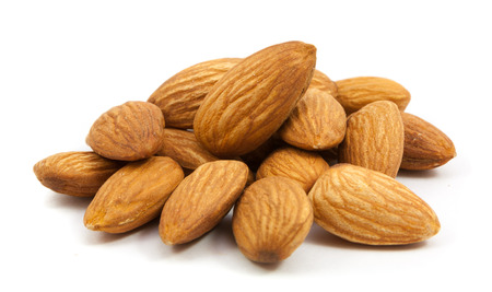 group of almonds isolated on white