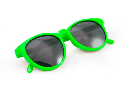 tinted glasses: Green sunglasses isolated on white background