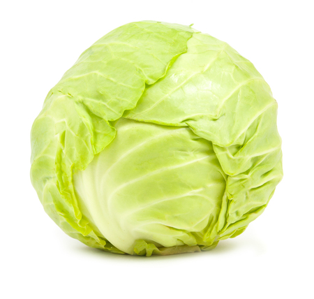 green cabbage isolated on white background Фото со стока